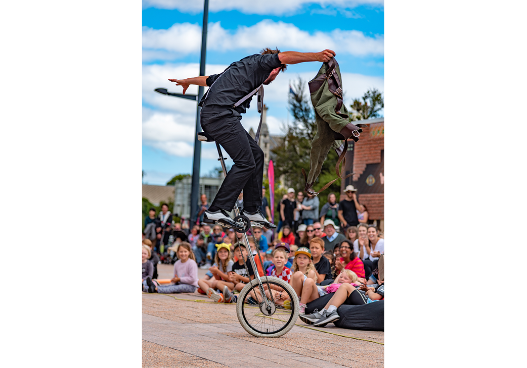 The Josh Grimaldi Show: An escape from a straight jacket jacket while riding a 2-meter-tall unicycle?! gallery image